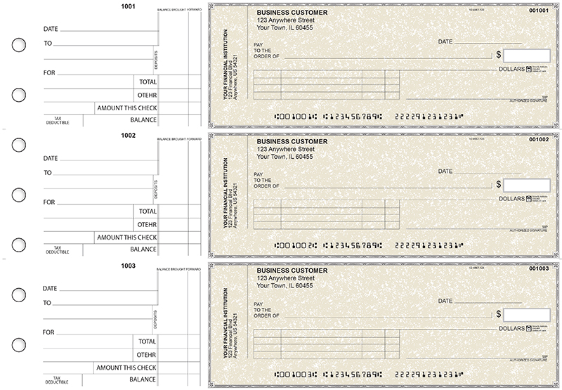 Tan Parchment Standard Invoice Business Checks