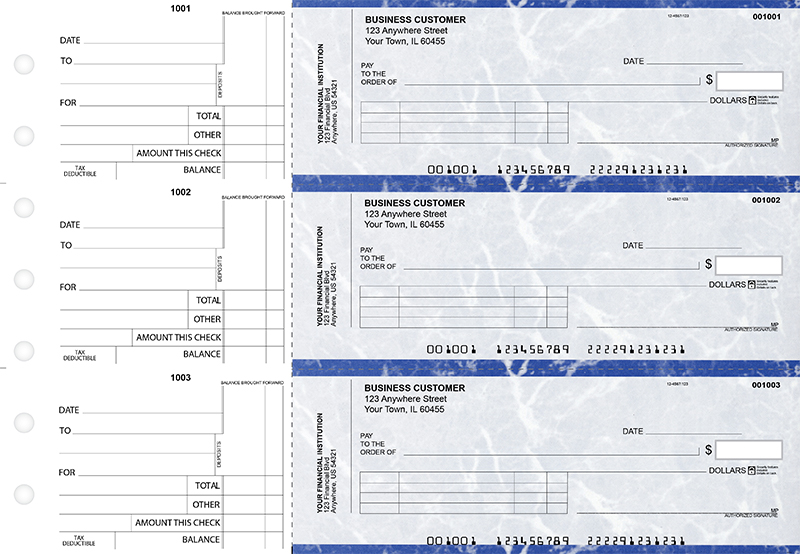 Blue Marble Standard Invoice Business Checks