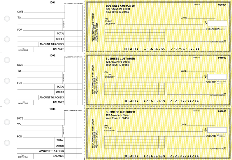 Yellow Safety Standard Invoice Business Checks