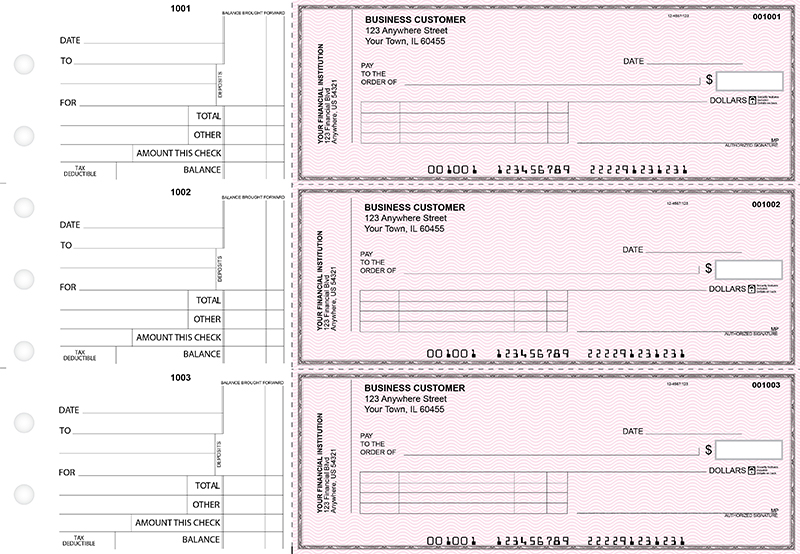 Pink Safety Standard Invoice Business Checks