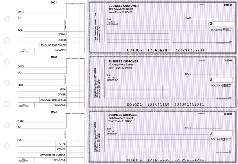 Purple Safety Standard Invoice Business Checks