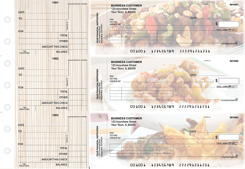 Chinese Cuisine Standard Invoice Business Checks