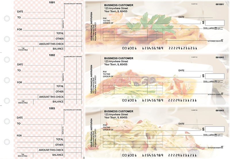 Italian Cuisine Standard Invoice Business Checks