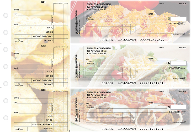 Mexican Cuisine Standard Invoice Business Checks