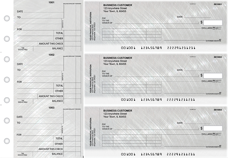 Brushed Metal Standard Invoice Business Checks