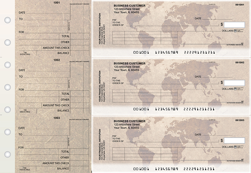 World Map Standard Invoice Business Checks