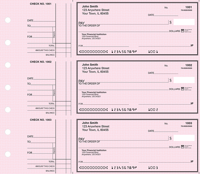 Deskset Style 2 Pink Safety Personal Checks