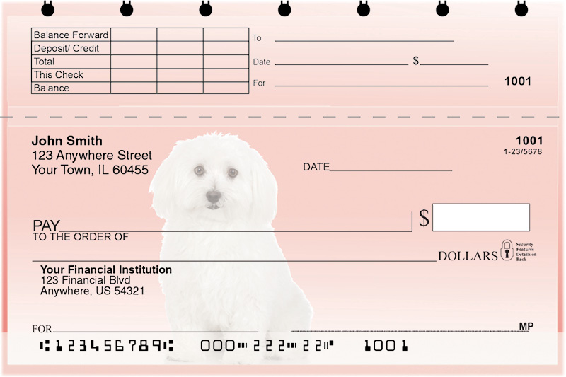Adorable Bichons Top Stub Checks