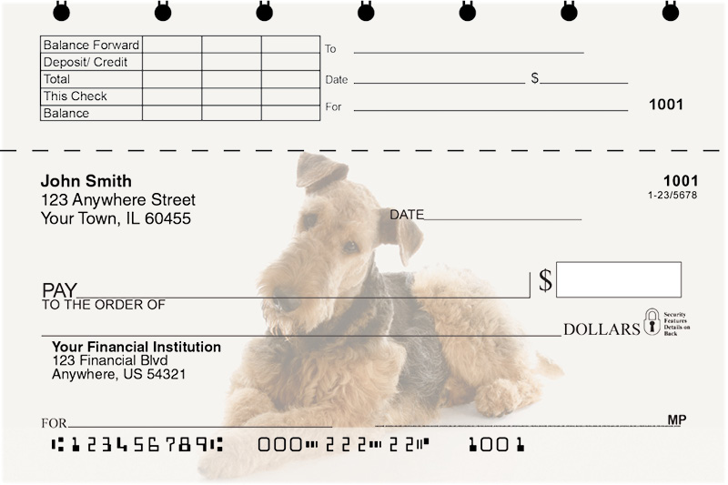 Airedale Terrier Top Stub Checks