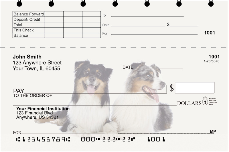 Australian Shepherd Top Stub Checks