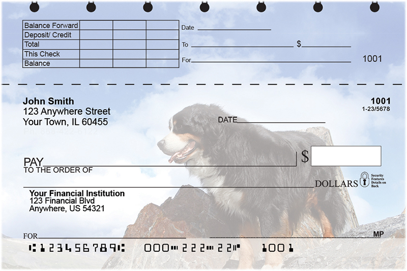 Bernese Mountain Dog Top Stub Checks