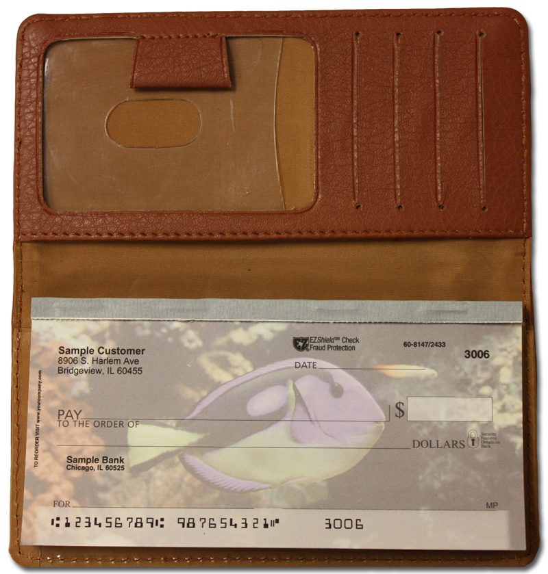 Brown Textured Leather Checkbook Cover