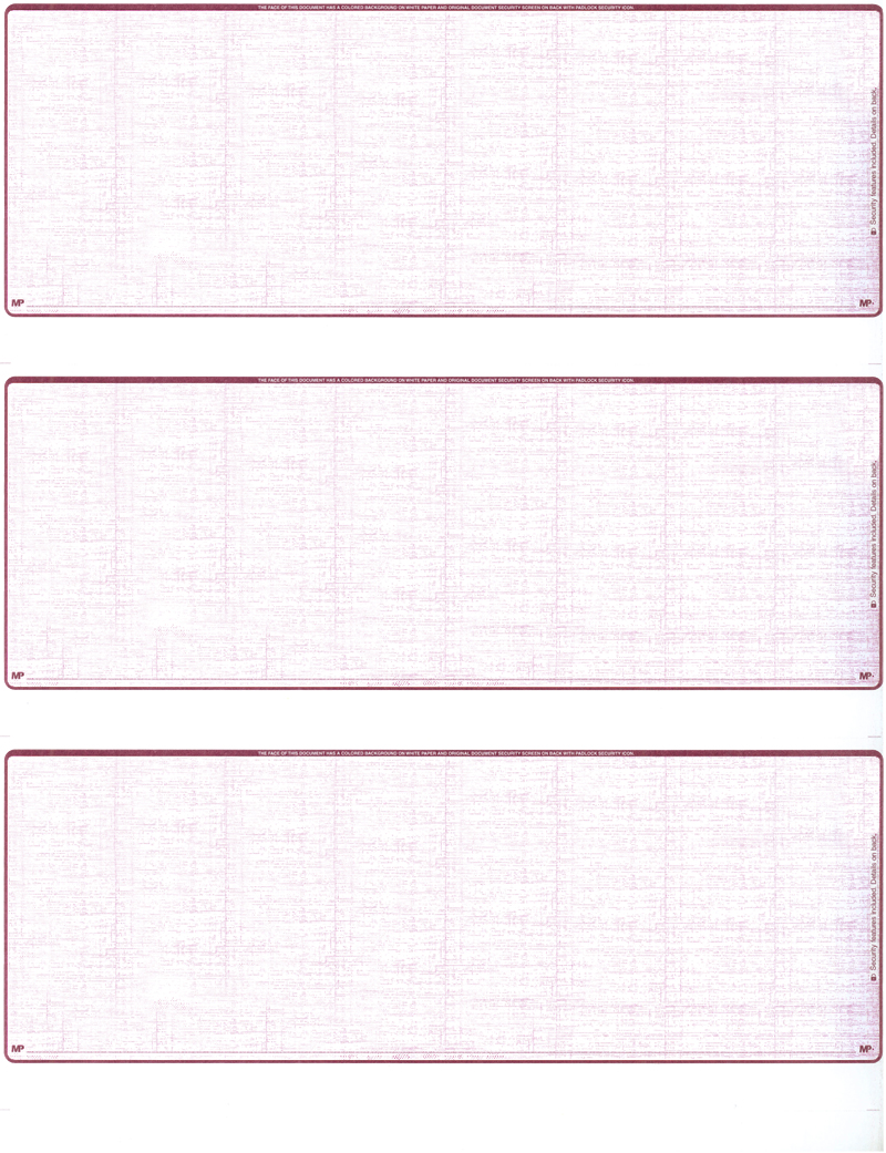 Burgundy Safety Blank 3 Per Page Laser Checks