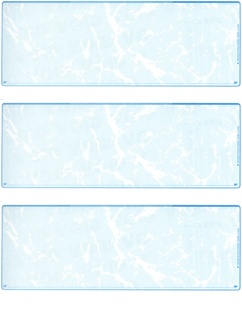 Teal Marble Blank 3 Per Page Laser Checks
