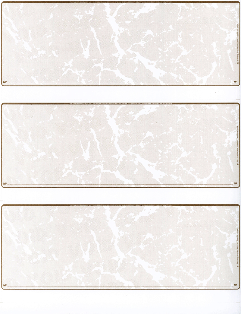 Tan Marble Blank 3 Per Page Laser Checks
