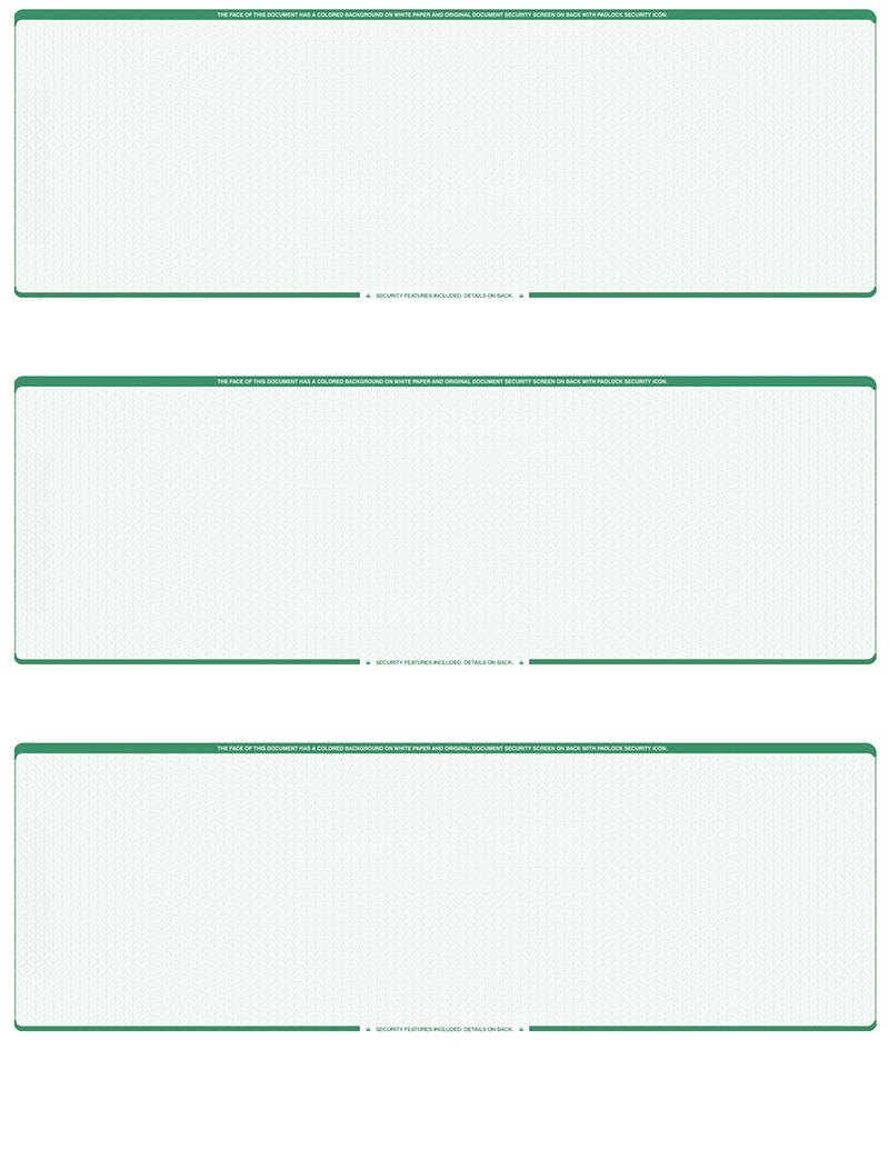 Green Safety Blank 3 Per Page Laser Checks