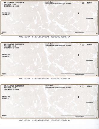 Tan Marble 3 Per Page Laser Checks