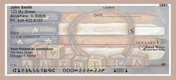 Americana Picket Flag Personal Checks by Lorrie Weber