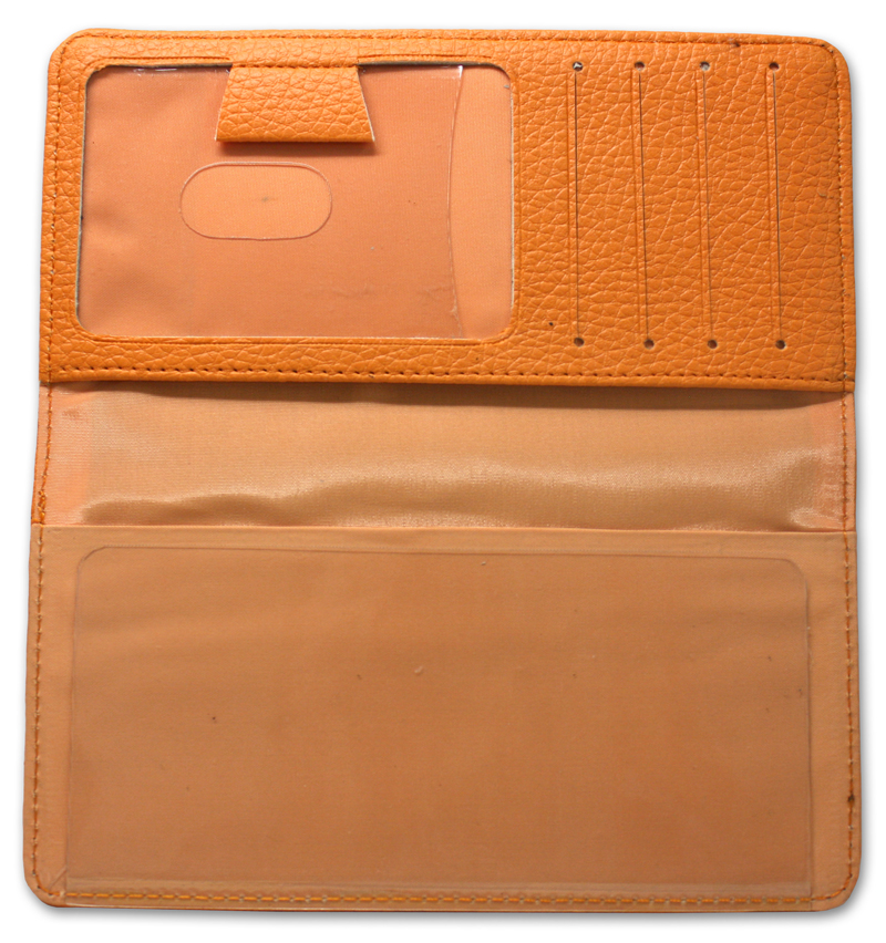 Orange Leather Checkbook Cover