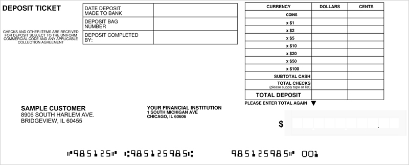 Loose Business Deposit Slips Style 3
