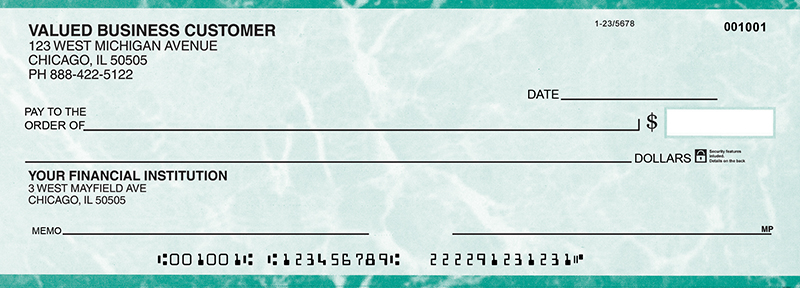 Teal Marble Business Pocket Checks