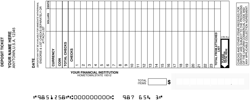 Loose Business Deposit Slips Style 13