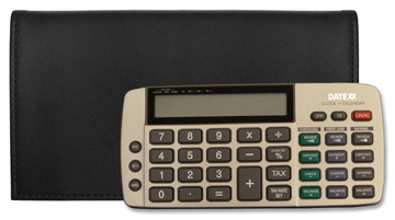 Leather checkbook covers with calculator.