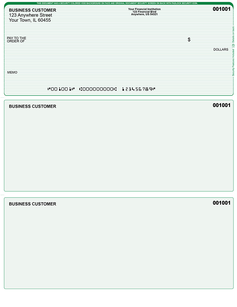 green lines laser business one per page voucher checks