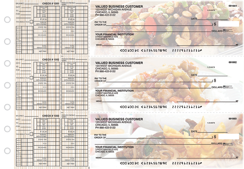Chinese Cuisine Payroll Designer Business Checks