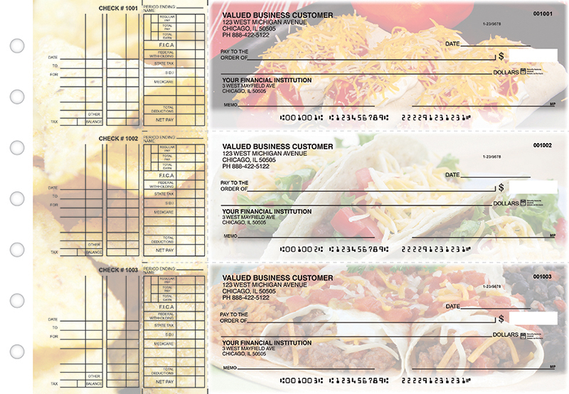 Mexican Cuisine Multi Purpose Designer Business Checks