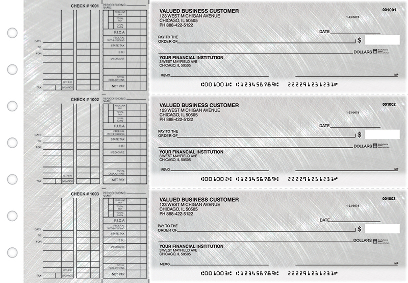 Brushed Metal Multi Purpose Designer Business Checks