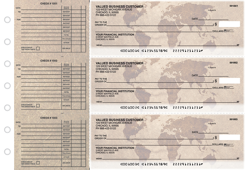 World Map Accounts Payable Designer Business Checks