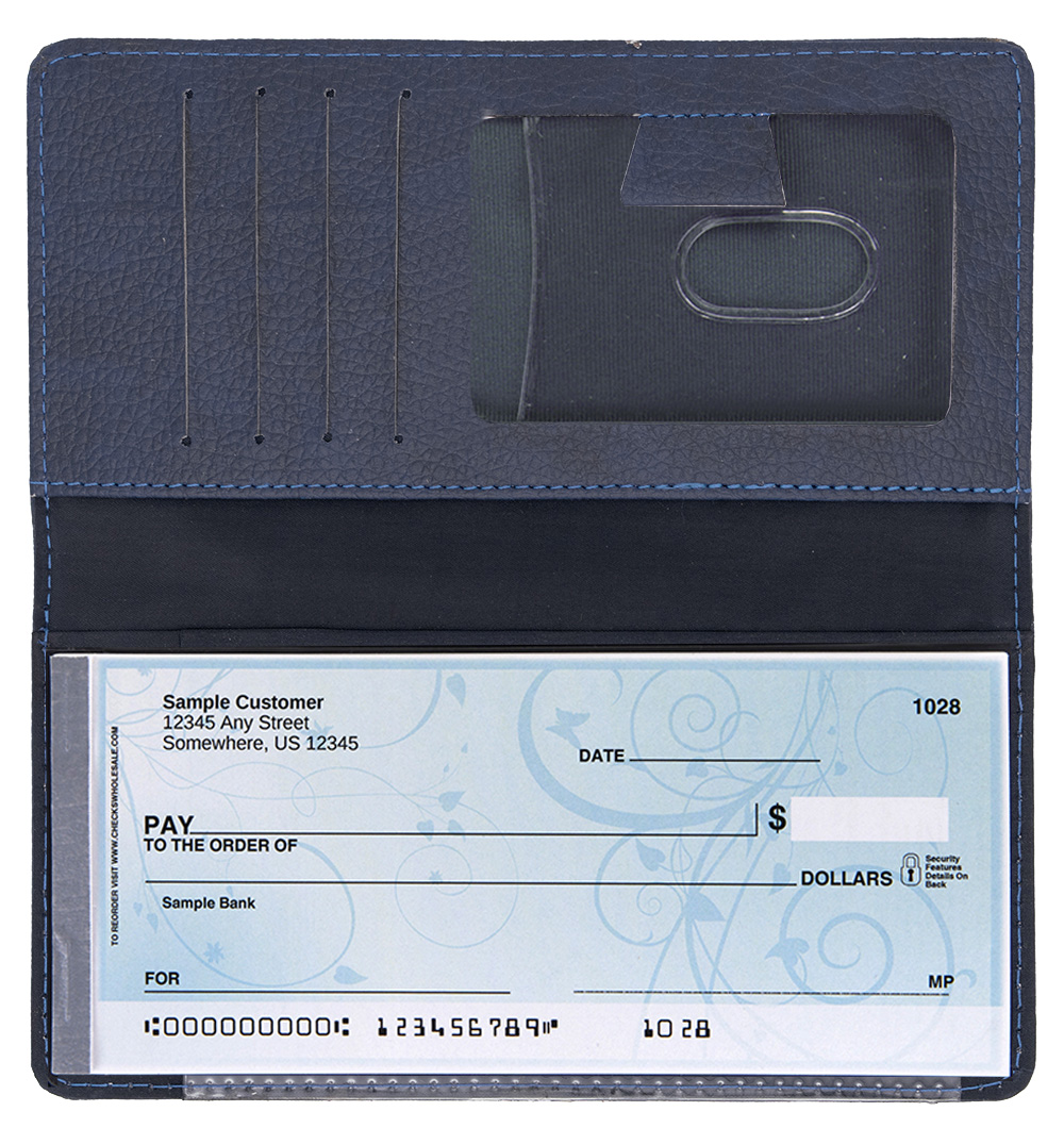 Navy Leather Side Tear CheckBook Cover